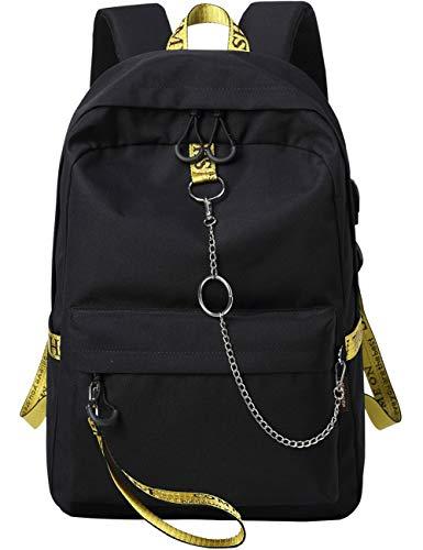 Mygreen College Laptop Rucksack Uni Laptop Rucksack unter 15.6-Zoll mit USB Ladeanschluss und Legen auf dem Gepäck Design für Jugendliche Unisex Stickerei Ribbons Schultasche