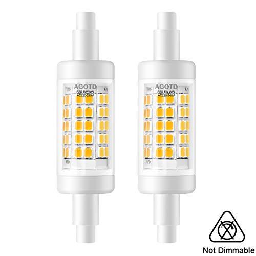 AGOTD R7s LED Lampe 78mm Nicht Dimmbar, 5W Warmweiß 3000K AC230V Lineares Licht, Doppel Brenner-Enden J78 Birne Ersetzt 30W 48W 60W Halogenlampe, 500LM 360 Grad Stab lampen, 2-Stück