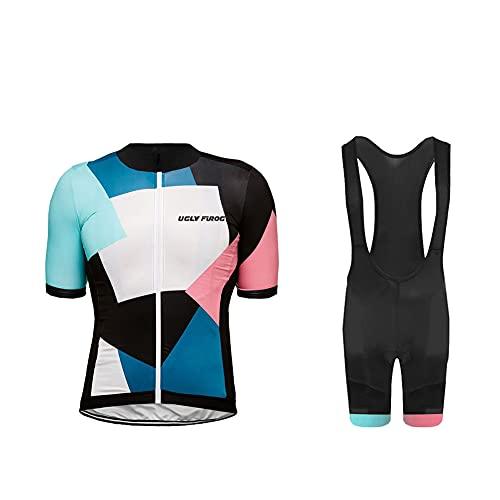 UGLY FROG Tuta da Bicicletta MTB Estiva da Uomo Traspirante Asciugatura Veloce Manica Corta e Pantaloncini Imbottiti Maglia da Ciclismo