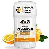 MONA BRANDS Aluminum free Natural Deodorant for Women & Men | Zinc & Magnesium Deodorant for Sensitive Skin | Baking Soda free Deodorant for Women & Men | Sensitive Skin Deodorant | Hypoallergenic, Plant-based & Vegan | ORANGE