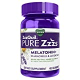ZzzQuil PURE Zzzs, Melatonin Sleep Aid Gummies with Lavender, Valerian Root and Chamomile, Natural Wildberry Vanilla Flavor, Non-Habit Forming, Drug-Free, 48 Gummies