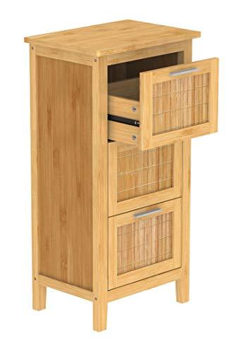 EISL Badezimmer Unterschrank, Badschrank schmal mit 3 Schubladen, nachhaltige Badmöbel Bambus, BMBA02-LS3, Braun, (B x H x T): ca. 31 x 82 x 30 cm