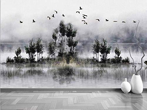 Papier Peint Panoramique Tapisserie Murales Adhesif 3D Forêt De Fumée Peinte À La Main Mur De Fond D'Oiseau Volant Poster Geant Mural Photo Xxl Tableau Decoration Murale