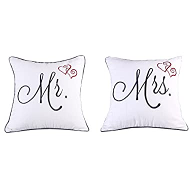 YugTex Pillowcases Mr & Mrs Set of 2 Embroidered Throw Pillow cover for Wedding Anniversary Couple He & She Gift Cushion cover (18 x18 , Ivory)