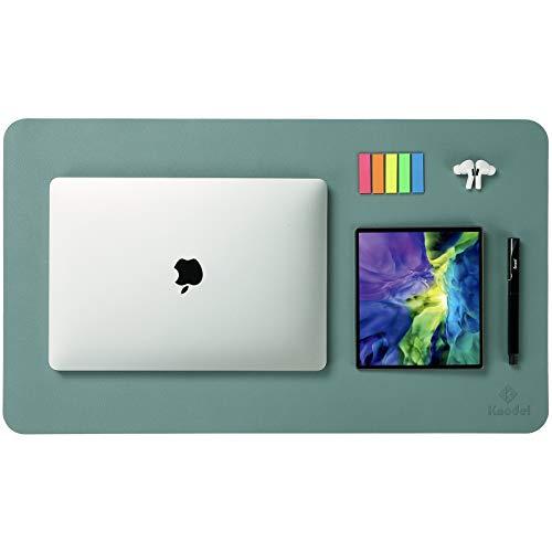 Knodel Tischunterlage, Schreibtischunterlage, 60 x 35cm PU-Leder Tischunterlage, Laptop Tischunterlage, wasserdichte Schreibunterlage für Büro- oder Heimbereich, doppelseitig (Grün/Grau)