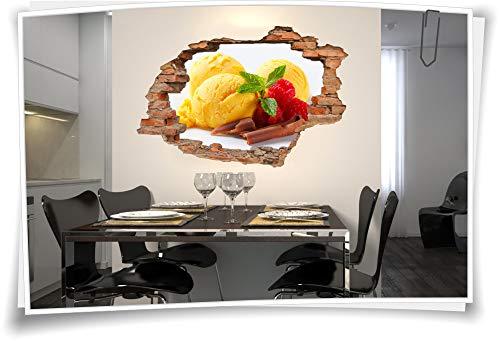 Medianlux 3D muurschildering wandtattoo wandsticker ijsbal framboos bord chocolade decoratie