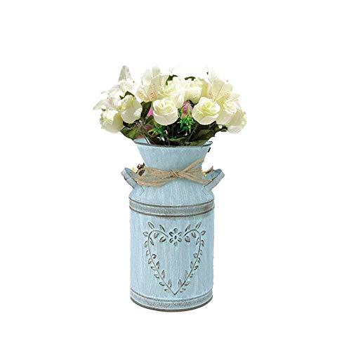 Vintage Blumenvase - Rustikale Eisen Krug Vintage Country Style Krug Vasen - Blumenarrangement Kreative Vase - Metall Eimer Dekovase Topf für Garten Balkon Wohnzimmer Tischdeko (A)