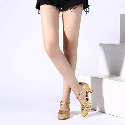 HROYL Damen Tanzschuhe/Latin Dance Schuhe Glattleder Ballsaal Modell-D5-511 Gold 40 EU - 7
