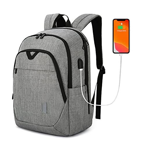 BAGSMART Backpacks for Men College Backpack 15.6'' Laptop Travel Back Pack with USB Charging Port Computer Bag Work Business College High School Practical Gift Grey
