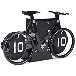 WoneNice Flip Clock - Bicycle Shaped Retro Flip Down Clock, 12 Hour AM/PM Show Big Number Clock for Home & Office Décor- Black