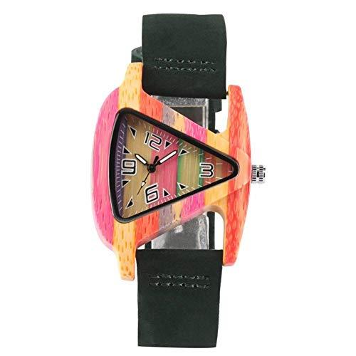 WRENDYY Holzuhren Einzigartige Bunte Holz Uhr kreative dreieck Form zifferblatt Stunde Uhr Frauen Quarz Leder Armbanduhr Frauen Handgelenk