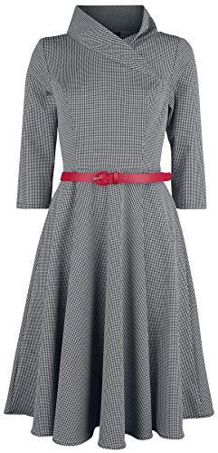 H&R London Preppy Mujer Vestidos de Longitud Media Negro-Blanco XXL, 97% poliéster, 3% elastán,