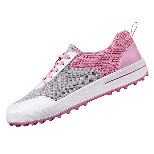 XFQ Zapatos del Golf De Las Mujeres, De Malla Ligera Zapatillas De Deporte del Golf Antideslizante Spikeless con Cordones...