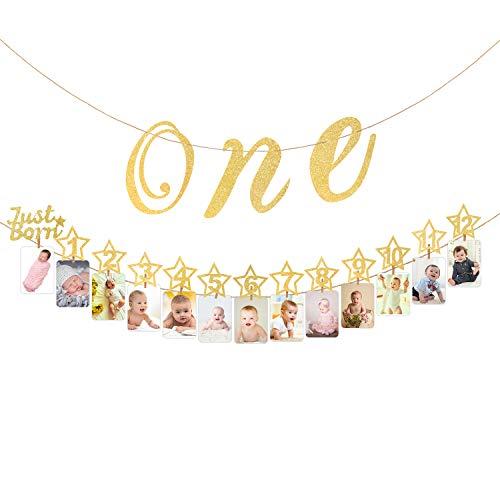Hifot Baby 1. Geburtstag Dekoration mit Hochstuhl Glitter Gold Baby Party Dekoration, monatliche Meilenstein Baby Foto Bunting für Neugeborene bis 12 Monate ersten Geburtstag Dekor Set (Gold)