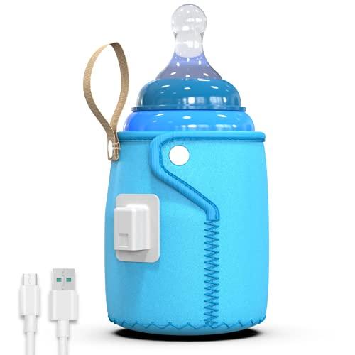 Mantenedor de calor para biberones portátil hasta 37ºC. Funda calefactora + Cable USB. Logra...