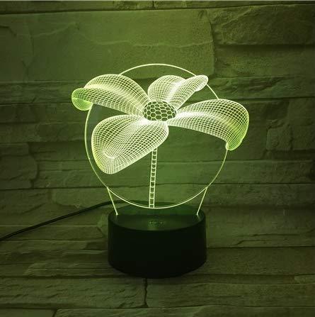 Luz de noche acrílica 3D ilusión 7 colores que cambian de luz regulable para manualidades, lámpara de estado de ánimo con carga USB