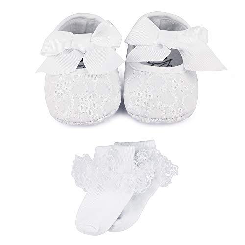 LACOFIA Baby Mädchen rutschfest Weiche Sohle Bowknot weiß Taufe Schuhe mit Bestickten Kreuz Taufe Socken 3-6 Monate