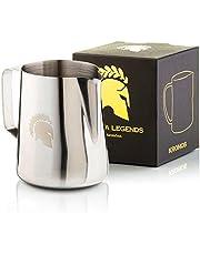 Barista Legends® - Jarra de leche de acero inoxidable - Con boquilla especial para Latte Art - Jarra de leche para aficionados y barista de acero inoxidable 304 pulido brillante