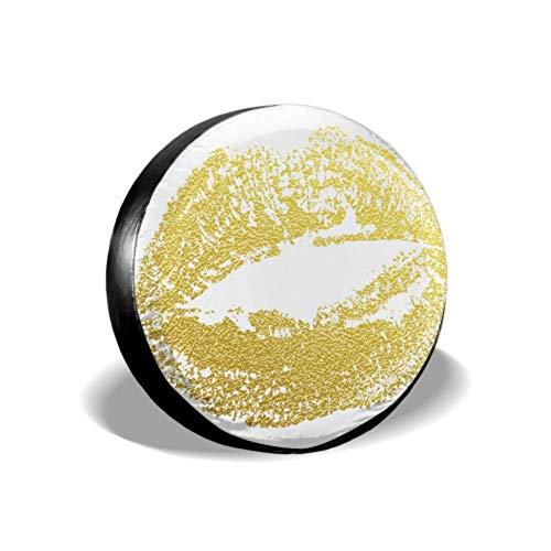 Gouden Kus Lippen Imprint van Gouden Glitter Lippenstift Achterband Cover Tire Protector Covers Band Cover Fit voor SUV en Veel Voertuig 14-17inch
