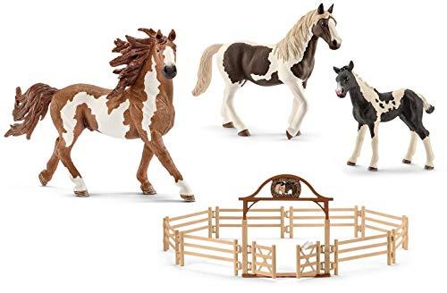 4in1-SET Schleich Pferde Horse Club - Pinto Familie und Pferdekoppel 13794 + 13830 + 13803 + 42434
