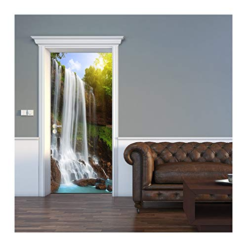 Lámina de puerta, papel tapiz de puerta cascada 3D en el bosque: lámina decorativa autoadhesiva para puertas, cuadros de puertas, pegatinas, decoración moderna de apartamentos,88x200cm(35'x79')