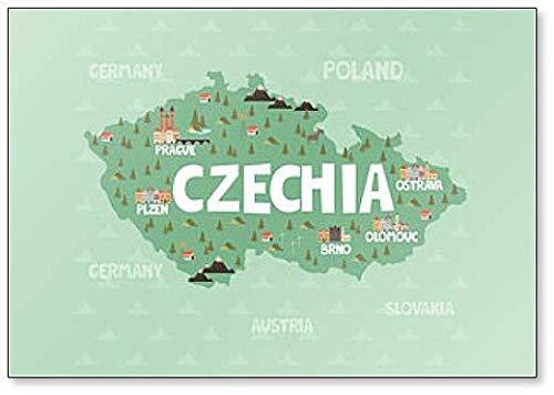 Kühlschrankmagnet mit Illustrationskarte der Tschechischen Republik oder Tschechien mit Stadt, Sehenswürdigkeiten & Natur.