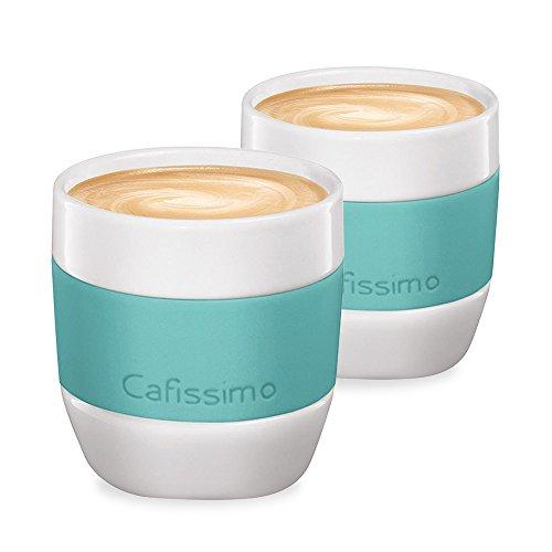 Tchibo Cafissimo Becher oder Tassen aus Porzellan mit Silikonmanschette, 2er Set (Kaffeebecher, Mint)
