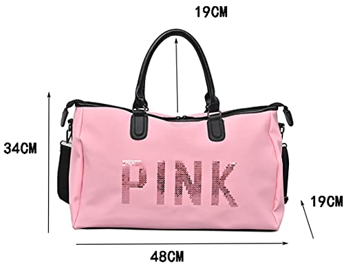 FRITZY Sport Bags for Men Women Luxury Handbags Pink Letter Large Capacity Travel Duffle Striped Beach Bag on Shoulder for Outdoor Business (Light Pink)