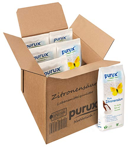 Purux Zitronensäure Pulver 5kg, Lebensmittelqualität, gentechnikfrei