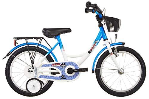 Vermont Kinder-Fahrrad Kapitän 16 Zoll | 1-Gang Kinder-Rad, Stützräder, Klingel und Fahrrad-Korb in Weiß-Blau