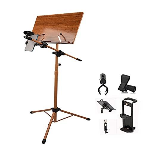 Soporte de partituras portátil, soporte para libros de música de guitarra para violín, trípode de altura ajustable, madera (color marrón (A), tamaño: 70-180 cm)
