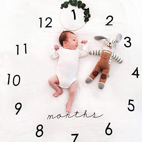 Manta para bebé con diseño de hitos para fotografía y fotos para hacer un seguimiento del crecimiento de tu bebé, bebé, bebé, natación, mes para fotografía, regalo para mamá o baby shower.