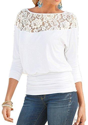 Jusfitsu Damen Loose Spitzen Shirts Langarm Tops Bluse Fledermaus Lace T Shirts Casual Oberteil Übergröße Weiß S