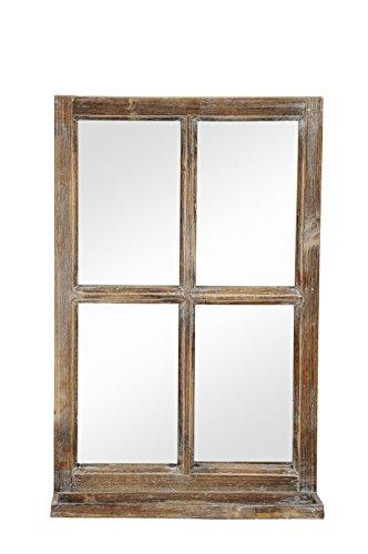 Deko-Fenster Fensterrahmen mit Ablagebrett und Spiegel im Landhausstil Holz Natur Shabby ca. 40 x 14 x 62 cm hoch