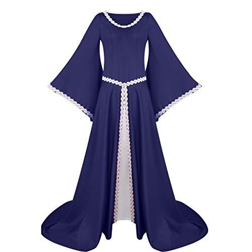 PinkLu Karneval Halloween Cosplay Party Ballkleid Damen Mode Langarm Mit Kapuze Mittelalterliches Kleid Bodenlangen Cosplay Kleid
