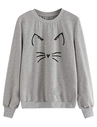 ROMWE Women's Cat Print Lightweight Sweatshirt Long Sleeve Casual Pullover Shirt Grey XL