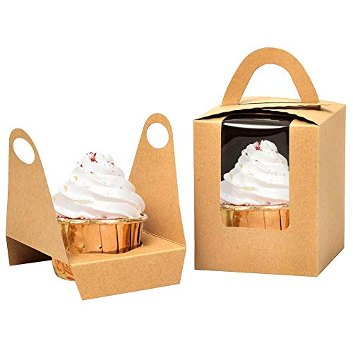 Kraft Cupcake Boxes50pcs Single Cupcake Carrier with Window Insert and Handle Kraft Pastry Containers Muffins Cupcake Carriers for Bakery Wrapping Party Favor Packing