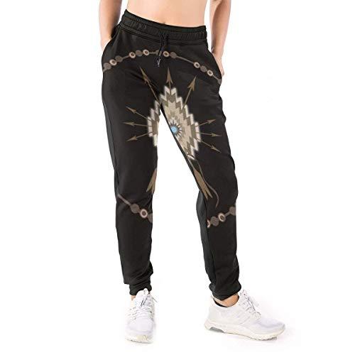 CLERO& Pantalones de chándal para mujer con símbolos tribales del sudoeste de los nativos americanos pantalones holgados con cordón Negro blanco XL