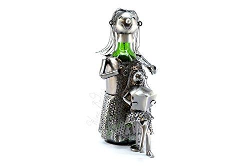 WINE BODIES lady Hair Dresser Metal Wine Bottle Holder, Charcoal