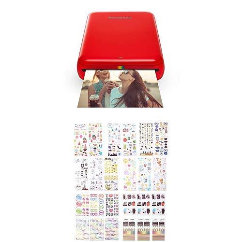 Polaroid ZIP Handydrucker mit ZINK Zero tintenfreier Drucktechnologie Rot Zink Bunte und dekorative Aufklebersets fur Sofortbild Papierprojekte Smile Mint Pop Z2300 9 einzigartige Sets