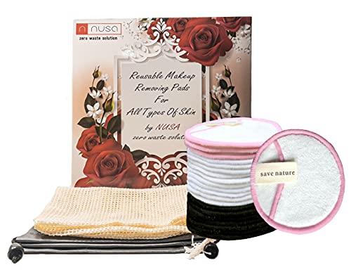 Lot de 20 tampons de coton réutilisables pour les femmes démaquillant pour le visage et les yeux-pour tous les types de peau - avec Sac lavable Meilleur Pour Cadeau Femme