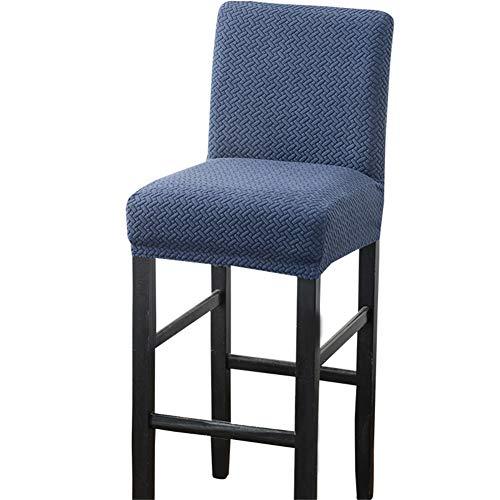 Fundas elásticas para taburetes de bar con respaldo, fundas de silla para sillas de comedor, forro polar polar, fundas cortas giratorias para sillas de comedor (azul marino, 6 piezas)