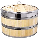 Steamer Basket, 10 Inch Bamboo 2-Tier Vegetable Food Steamer Basket Reinforced with Stainless Steel for Dumpling, Meat, Dim Sum, Seafood Cooking