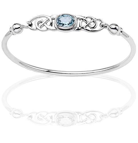 DTPsilver -Damen Armreif/Armbänder 925 Sterling Silber - Keltische Dreifaltigkeitsknoten - keltischen Kollektion - Blautopas