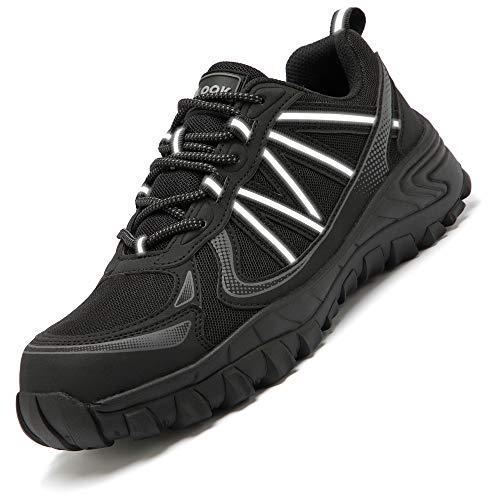 Leisfit Arbeitsschutzschuhe Outdoor Stahlkappe Pannensichere Schuhe Industrie und Bauschuhe für Männer und Frauen Dunkel Schwarz, 37 EU