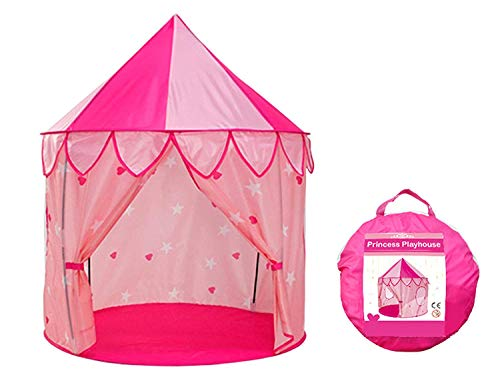 VicPow Princess Castle Play Tent with Curtain,Kids Playhouse for Childs Toddlers Gift/Presents,Playhouse Toy for Girls Kids Toddlers with Carrying Case,Indoor & Outdoor Use