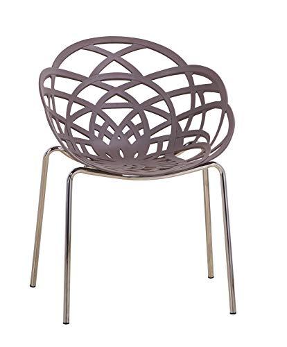 Euro Tische Esszimmerstühle modern, stilvoll & bequem - perfekt geeignet im Esszimmer, Wohnzimmer & Küche - (Grau, 1x Stuhl)