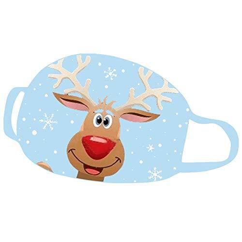 KJC 1 Stücke Weihnachts Mundschutz Tuch Erwachsene Baumwolle Waschbare Atmungsaktiv Lustig Bunt Mit Motiv Mund und Nasen Maske und Nasenschutz Halstuch (A - 5)