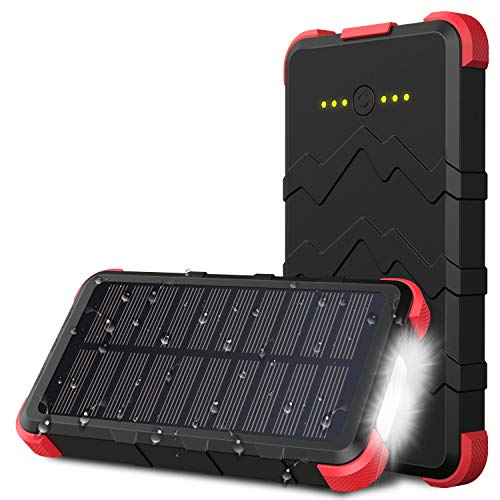 OUTXE Type C 10000mAh Caricabatteria Solare Powerbank Impermeabile IP67, Carica Batterie Solare Portatile Rugged