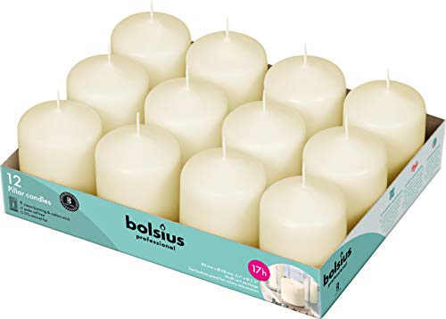BOLSIUS Set of 12 Ivory Pillar Candles - 2.5-x3-inch Unscented Candle Set - Dripless Clean Burning Smokeless Dinner Candle - Perfect for Wedding Candles, Parties and Special Occasions